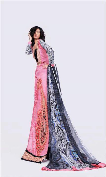 Asim jofa embroidered paisley on organza and pure chiffon dupatta