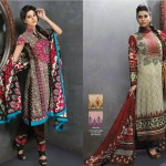 latest Folk Art dresses collection by alkaram textiles