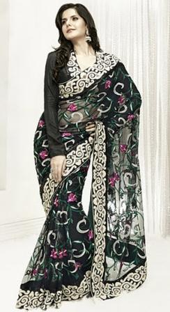 Black net embroidered sari