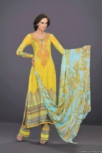 Printed Neck Design By HSY Lawn