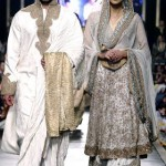 Wight color Sherwani for groom And lehnga for bridals by Sanz