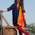 Hoop Blue Lawn Embroidery Shirt with Tie Dyed Panels and Hand Embroidery dresses summer for Women