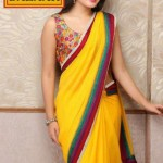 Meena Bazaar Yellow Saree Collection 2012