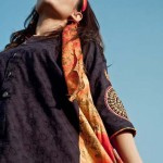 Pakistani Women Mid Summer Hot Lawn embroidery collection 2013-12 by Hoop embroidery shirt with tie dyed panels