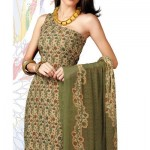Beautiful Cream Flora Printed Crepe Salwar Suit