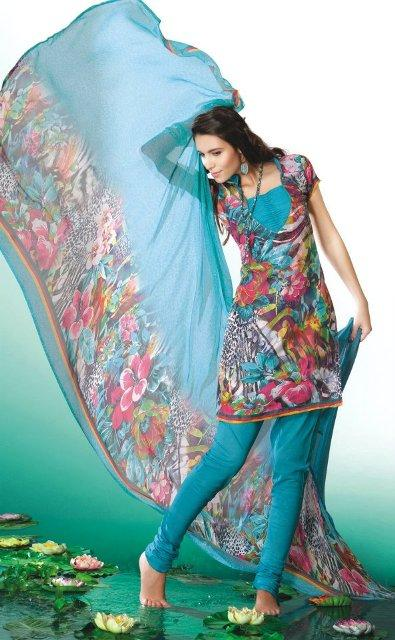 Casual Printed Summer Eid Salwar Kameez Collection 2012 For Girls