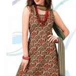 Cream Flora Patterned Crepe Salwar Suit 2012 For women By Designer Cotton Dress