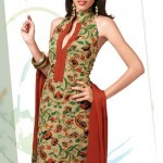 Designer Cotton Dress 2012 Beige Paisley Crepe Salwar Suit for girls