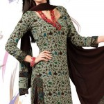 Designer Cotton Dress Beige Flora Charm Crepe Salwar Suit 2012