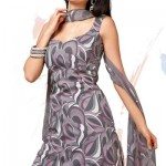 Grey Crepe Printed Salwar Suit Designer Cotton Dress