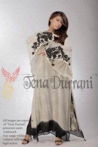 Lotus White and Black Georgette poncho w bird embroidered sleeves and motif by Tena Durrani