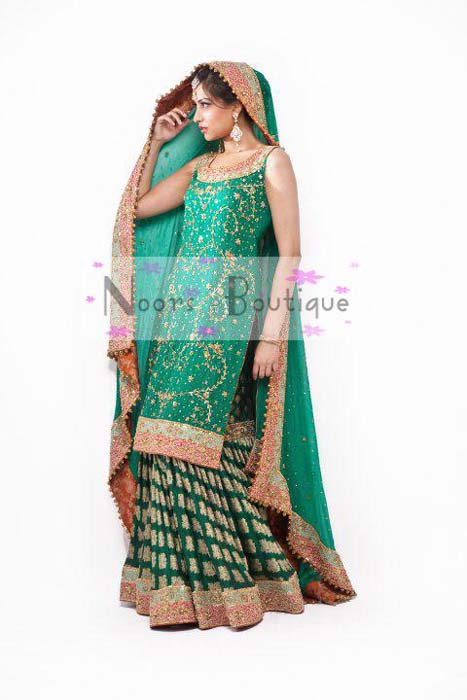 Noors Boutique Exclusive Mehndi Sharara Lehnga Dresses Collection