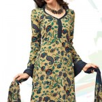 Paisley Printed Beige Crepe Salwar Suit 2012 By Designer Cotton Dress