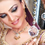 SIlver Jewlery with Gold planted Zarqon Stones bridal wear fashion outfits 2013-12 by Silveria