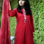 Red Color Damak Mid summer Ramadhan Eid Dress Collection For Women