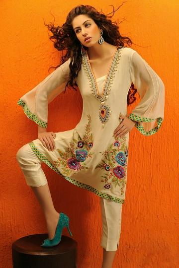 Shirin Hassan Eid Collection 2012 Silk Long Shirts, Tunics (8)