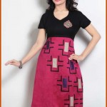 Black and Magenta Cotton Silk Readymade Dress collection 2012 girls women Kurta 0003