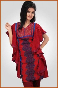 Hot women Red Faux Georgette Readymade Dresses Tunics latest trend Indian Pakistani 2012-13