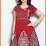 Indian Women Red Chanderi Readymade Kurti design latest fashion For Girls