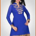 Royal Blue Faux Georgette Readymade Tunic wonderful designs For Women 2012
