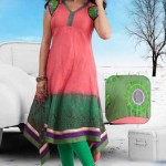 Stylish Hot girls women Peach and Green Cotton Readymade Tunic by Utsav