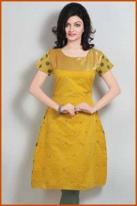Yellow Chanderi Silk Readymade Kurti styles 2012 for girls women by Utsav 0001