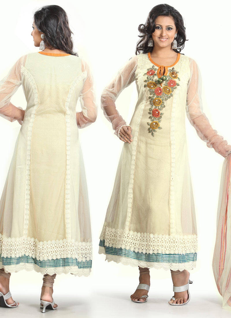 Alluring Cream Net Long Anarkali Suit