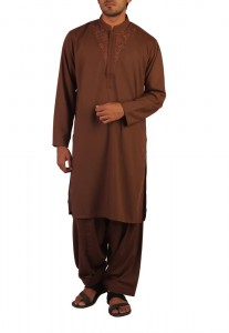 Bonanza Brown Mixed Cotton Embroidered Kurta with Chinese Collar and Shalwar