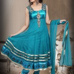 Brilliant Blue Net Anarkali Suit 2012