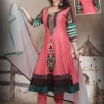 Fab Coral Red Chanderi Anarkali Suit 2012