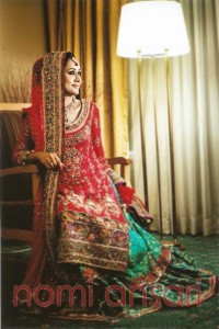 Mahnoor Baloch Come in Beautiful Coral Bridal Outfit by Nomi Ansari (1)
