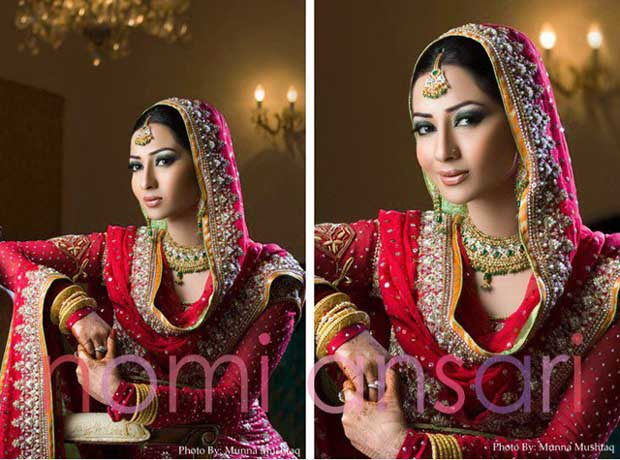 Mahnoor Baloch Come in Beautiful Coral Bridal Outfit by Nomi Ansari (3)