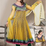 Mustard Net Long Anarkali Suit 2012