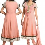 Peach Pure Georgette Anarkali Suit 2012