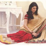 Red And Beige Half And Half Saree Exclusive Pure Classic By Designer Cotton Dress materials