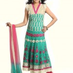 Teal Net Long Anarkali Suit frock designs 2012