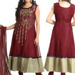 Vivid Embroidered Maroon Net Anarkali Suit designs 2012