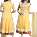 Yellow Net Long Anarkali Suit designs 2012