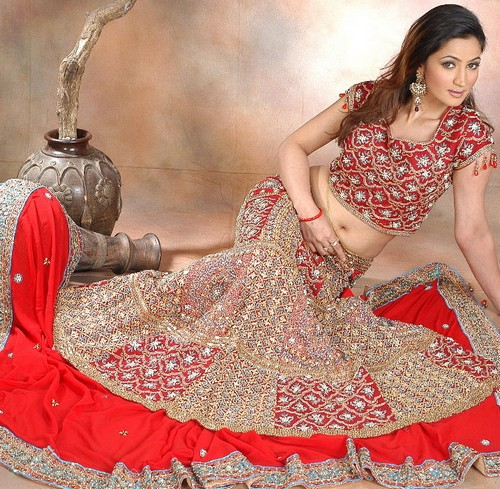 bridal wedding dress red