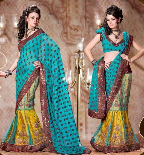 latest Lehenga type Saree dresses