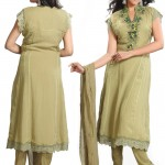 live Green Pure Georgette Churidar Suit 2012
