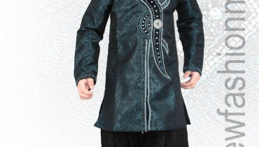 Blue Brocade Readymade Indo Western Suit