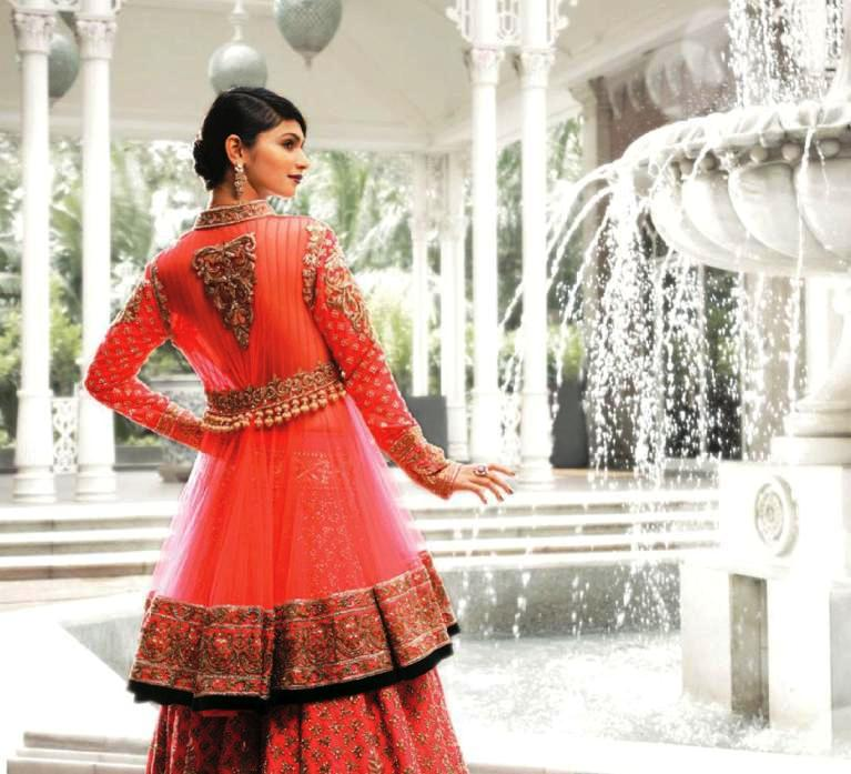 Coral net anarkali kurta zardozi embroidered lehenga by Manish Malhotra