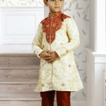 Cream Dupion Silk Eid Kurta Collection 2012 with Churidar