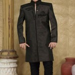 Deep Olive Green Jacquard Indo Western Suit