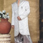 Off White Jacquard Indo Western Suit
