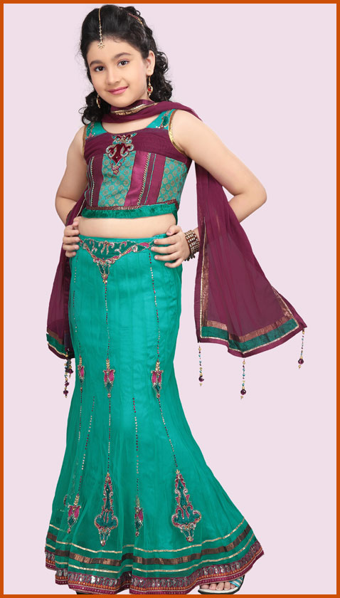 Turquoise Green Net Fishtail Lehenga Choli