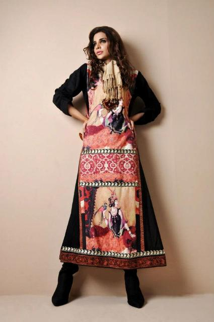 Shamaeel Ansari Latest Party Wear Winter dress Collection Digital Prints 2013 For Women (2)