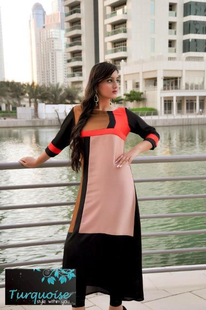 Turquoise Latest Winter Dresses 2012-2013 For Women 005