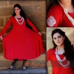 Bright Red with Beaded Neck Latest Semi Formal Eastern Women Dresses 2013 by Farheen Ali